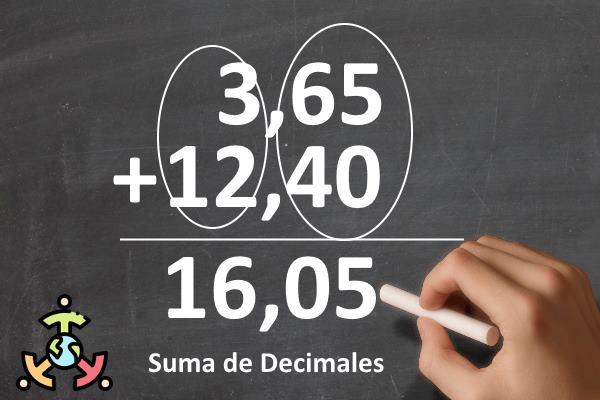 como sumar decimales