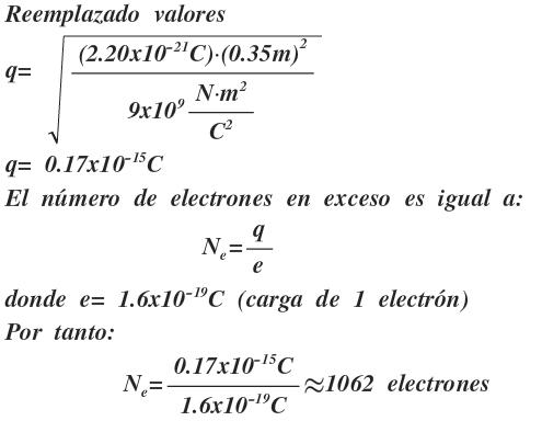 electrones en exceso ley de Coulomb aplicacion
