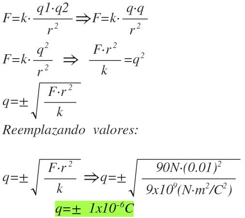 ley de coulomb ejemplos