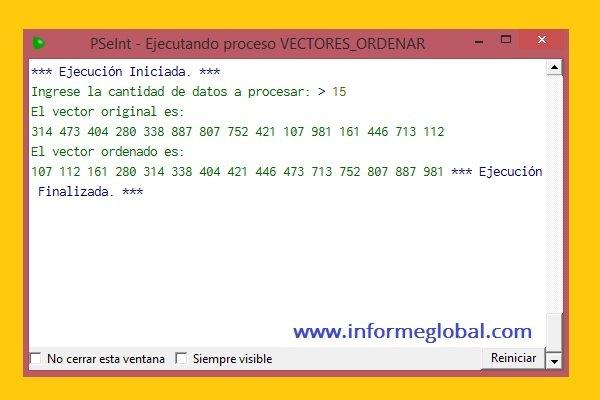 PSeint algoritmo ordenar vectores