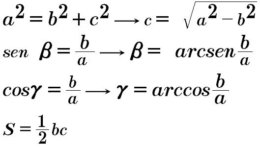 formula triangulo rectangulo caso 1
