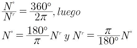 relacion grado sexagesimal radianes